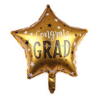 """Foil 18"""" congrats grad star shape - gold"""