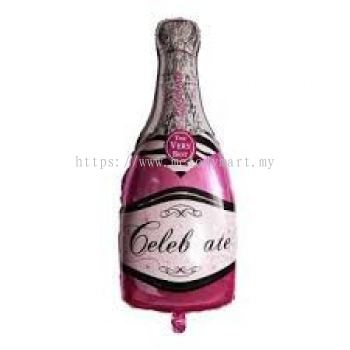 Foil - Champagne Bottle Pink - 100x50cm