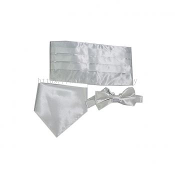 Cummerbund Bow Tie Handkerchief set - white
