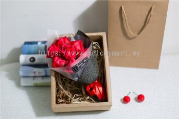 Flower Set With Box  - 7pcs (Red)