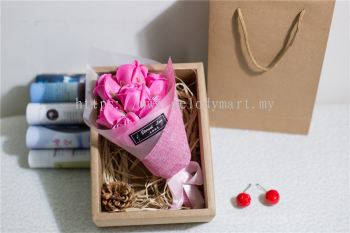 Flower Set With Box - 7pcs (Pink)