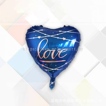 "Foil 22"" H.Shape - Blue - Love"