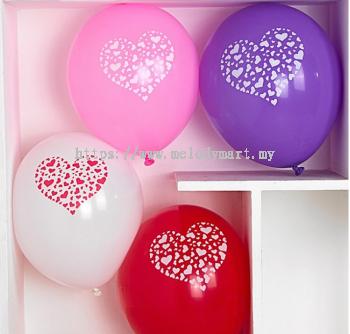 Heart Printed Latex Balloons