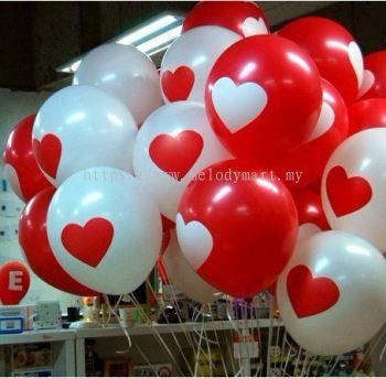 10's 12 inch Heart Shape Print Latex Balloons - 2102 0101