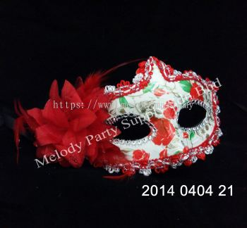 Flower Lace Edge Skull and Rose Pattern Half Mask - 2014 0404 2