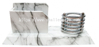 Marble Finish Wooden Card & Pen Holder (w02)