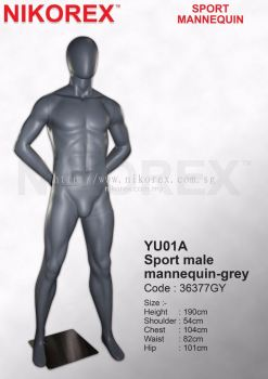 36377GY-YU01A SPORT MALE MANNEQUIN-GREY