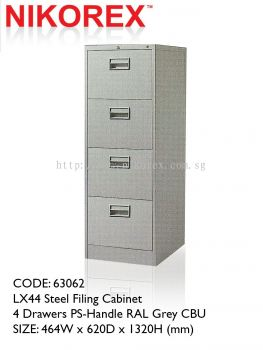 63062 - LX44 Steel Filing Cabinet 4 Drawers PS-Handle RAL Grey CBU
