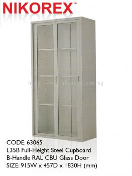 63065 - L35B Full-Height Steel Cupboard  B-Handle RAL CBU Glass Door