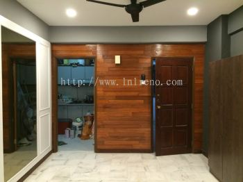 Custom Made feature wall with nyatoh wood with stain