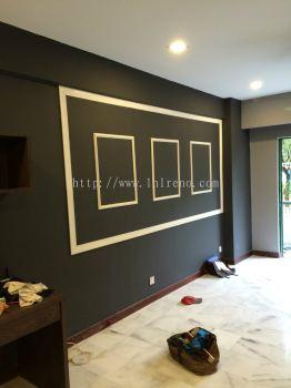 Custom made Feature wall with nyatoh beading spray white paint finish.