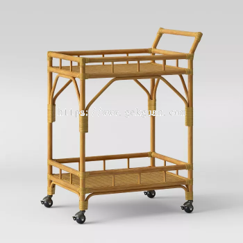 Rattan Bar Trolley - 003
