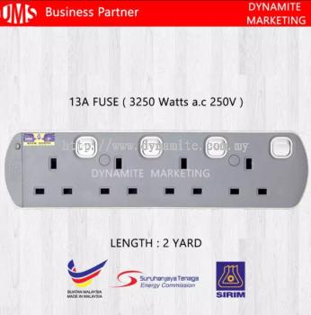 UMS 250V/13A 2 Yard 4 Gang Extension Socket