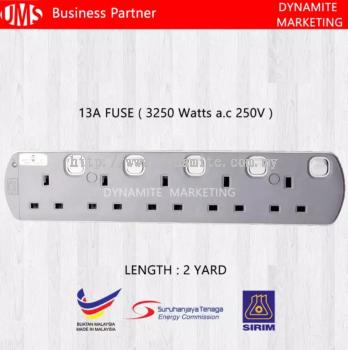 UMS 250V/13A 2 Yard 5 Gang Extension Socket
