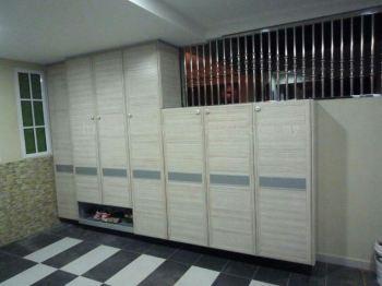 Aluminium Shoes Cabinet With Aluminium Woodgrain Door