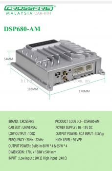 Crossfire CF 680AM 4S Pro Series 8 Channel Amplifier Output DSP