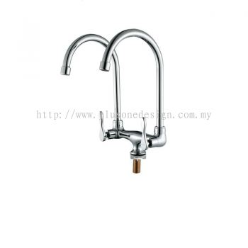 Full Brass Satin Finish Twin Pillar Kitchen Tap BM840SS