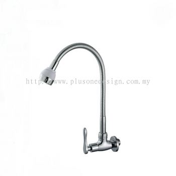 Full Brass Satin Finish Flexible Wall Kitchen Tap BM-880SS