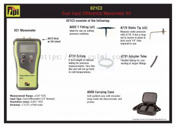 TPI-621C3 Dual Input Differential Manometer Kit