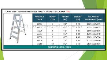 Light Step (Light Duty) Aluminium Single Sided A Shape Step Ladder (SSE)