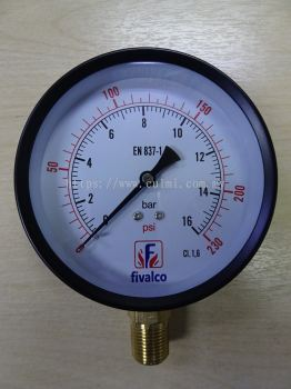 "FIVALCO P101 3/8"" BSPT BOTTOM ENTRY PRESSURE GAUGE"