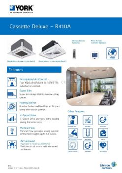 YORK Ceiling Cassette Deluxe Air-Conditioner Non-Inverter (R410A)