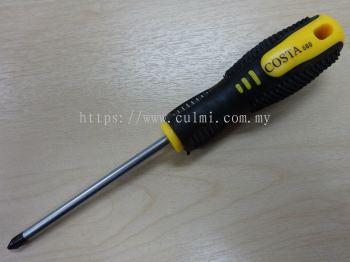 "COSTA 4"" (+) SCREW DRIVER W/ RUBBER HDL (12 PCS/BOX)"
