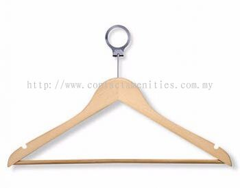 Anti Theft Wooden Hanger with PVC Hose Bar