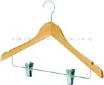 Open Hook Wooden Hanger with Metal Clip