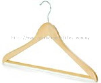 Open Hook Wooden Hanger with PVC Hose Bar
