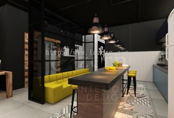 Pantry area with abstract tiles design with Mustard yellow Couch.