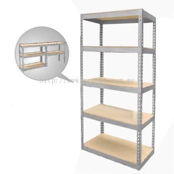 Adjustable 5-Shelf Medium Duty Shelving Unit with HDF Board