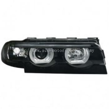 E38 Head Lamp Projector W/LED Rim
