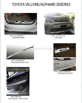 Toyota vellfire/alphard ANH20 series chrome product