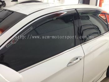 Honda Accord 2013 Injection Door Visor with Chrome