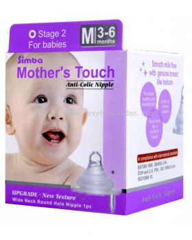 SIMBA Mother's touch wide neck round hole anti-colic nipple M - 1pc
