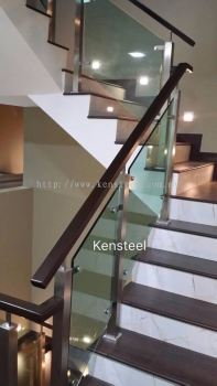 Wood handrail Glass Staircase 2