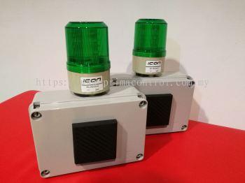 Revolving light with multi tone buzzer