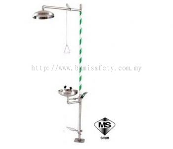 Shower and Eyewash with Stainless Steel Bowl and Foot Pedal