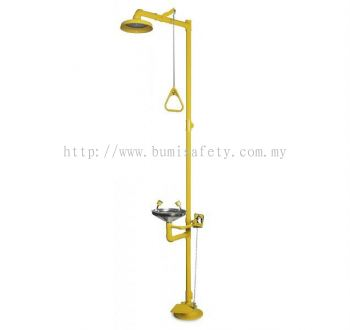 ProGuard® Floor Mount Combination Emergency Shower & Eyewash with Foot Peda -PG10001