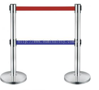 Stainless Steel Self Retractable Double Belt Q-UP Stand