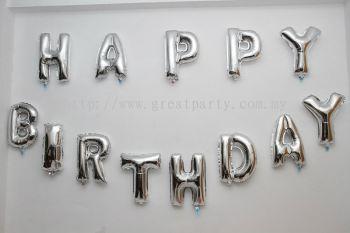 13pcs 16inch Alphabet Balloon (Happy Birthday) Silver