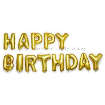 13pcs 16inch Alphabet Balloon (Happy Birthday) Gold