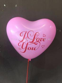 "12 Inch Atex  Love Shape Pink 1 Side Print ""I Love You"" (10pcs)"