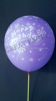 12 Inch Happy Birthday With Lolipop (Mix Colour) 10pcs