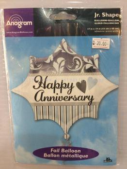18 Inch Anagram Happy Anniversary Foil Balloon