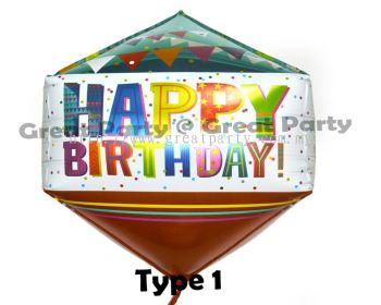 (Type 1)Diamond Shape Birthday Foil Balloon