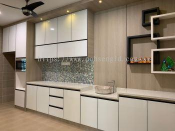 5G Glass Door Dry Kitchen Cabinet #Putra Nilai
