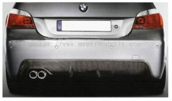 BMW 5 SERIES E60 2003-2009 M-TECH (M-SPORT) REAR BUMPER DIFFUSSER W/CARBON + SINGLE OUTLET MUFFLER