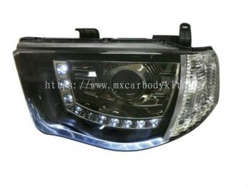 MITSUBISHI TRITON 2006 & ABOVE HEAD LAMP CRYSTAL PROJECTOR BLACK CHROME W/LED